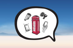 Composite image of phone box in speech bubble doodle. Phone box in speech bubble doodle against serene landscape Royalty Free Stock Images