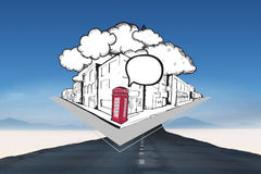 Composite image of phone box with speech bubble on street doodle. Phone box with speech bubble on street doodle against road turning into arrow Stock Photo
