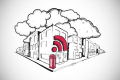 Composite image of phone box with wifi on street doodle Royalty Free Stock Photo