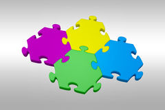 Composite image of piece of jigsaw puzzle. Piece of jigsaw puzzle against grey background Stock Photo