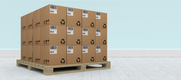 Composite image of pile of brown cardboard boxes arranged on wooden pallet Royalty Free Stock Photography