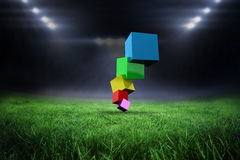 Composite image of pile of 3d colourful cubes Stock Photo