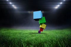 Composite image of pile of 3d colourful cubes Stock Photos