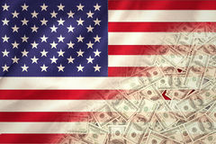 Composite image of pile of dollars Royalty Free Stock Photos