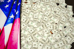 Composite image of pile of dollars Royalty Free Stock Images