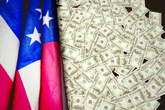 Composite image of pile of dollars Royalty Free Stock Photography
