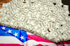 Composite image of pile of dollars Stock Photography