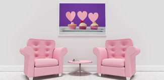 Composite image of pink armchairs and table against blank picture frame Royalty Free Stock Photos