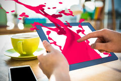 Composite image of pink paint splashes and drops Stock Images