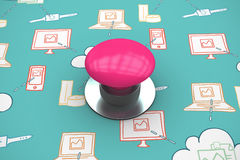 Composite image of pink push button Stock Photography