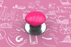 Composite image of pink push button Royalty Free Stock Photography