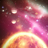 Composite image of planets over sun 3d Royalty Free Stock Image