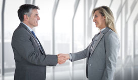 Composite image of pleased businessman shaking the hand of content businesswoman Royalty Free Stock Photos