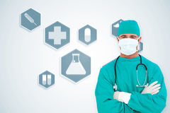 Composite image of portrait of an ambitious surgeon Stock Image