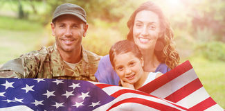 Composite image of portrait of army man with family royalty free stock photos
