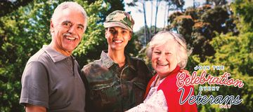 Composite image of portrait of army woman with parents royalty free stock image