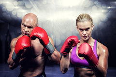 Composite image of portrait of boxers with gloves Stock Photography