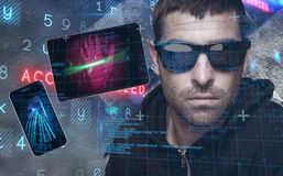 Composite image of portrait of burglar wearing sunglasses Royalty Free Stock Image