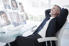 Composite image of portrait of business people Stock Photos