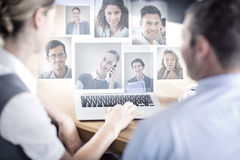 Composite image of portrait of business people Stock Photography