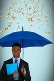 Composite image of portrait of businessman holding blue umbrella and file. Portrait of businessman holding blue umbrella and file against blue background Stock Photos