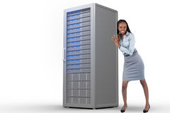 Composite image of portrait of a businesswoman pushing a panel Stock Photos