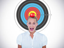 Composite image of portrait of businesswoman in shock Royalty Free Stock Image