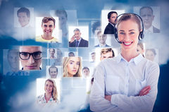 Composite image of portrait of a call center executive Stock Photo