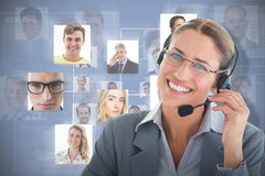 Composite image of portrait of a call center executive wearing headset. Portrait of a call center executive wearing headset against grey background Stock Image