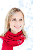 Composite image of portrait of a captivating woman with a red scarf Stock Photos