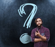 Composite image of portrait of confident hipster holding smoking pipe Stock Photos