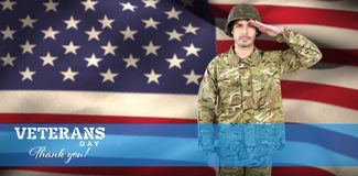 Composite image of portrait of confident soldier saluting. Portrait of confident soldier saluting against logo for veterans day in america Stock Photos