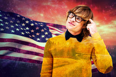 Composite image of portrait of confused hipster Stock Photography