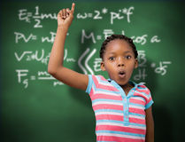 Composite image of portrait of cute schoolgirl with hand raised Royalty Free Stock Photos