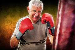 Composite image of portrait of a determined senior boxer Royalty Free Stock Image