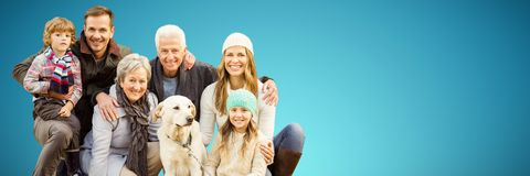 Composite image of portrait of family with dog in park. Portrait of family with dog in park against abstract blue background royalty free stock images