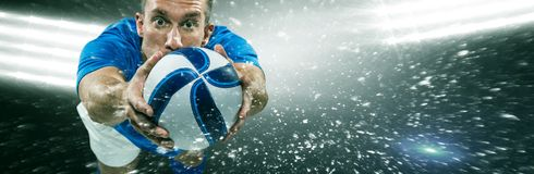 Composite image of portrait full length of american football player diving royalty free stock image