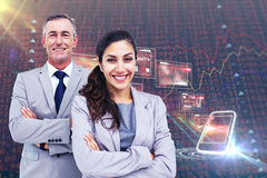 Composite image of  portrait of happy business people standing together Royalty Free Stock Photos