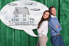 Composite image of portrait of happy couple back to back. Portrait of happy couple back to back against cloudy sky Stock Photo