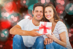 Composite image of portrait of happy couple receiving gift Stock Images