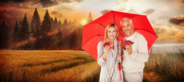 Composite image of portrait of happy couple under red umbrella. Portrait of happy couple under red umbrella against country scene Royalty Free Stock Images