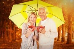Composite image of portrait of happy couple under yellow umbrella Stock Images
