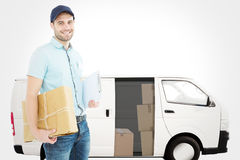 Composite image of portrait of happy courier man with parcel Stock Photography