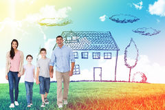 Composite image of portrait of happy family walking over white background. Portrait of happy family walking over white background against blue sky over green Stock Images
