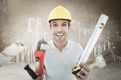 Composite image of portrait of happy worker holding various equipment Stock Photos