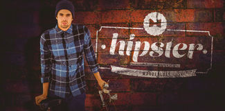 Composite image of portrait of hipster standing with bicycle stock illustration
