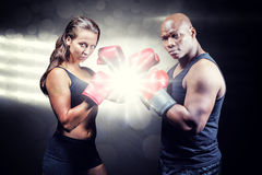 Composite image of portrait of male and female athletes with fighting stance. Portrait of male and female athletes with fighting stance against spotlight royalty free stock photography
