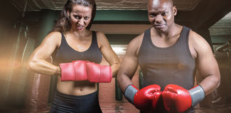 Composite image of portrait of male and female boxers with gloves. Portrait of male and female boxers with gloves against red boxing area with punching bags Royalty Free Stock Image