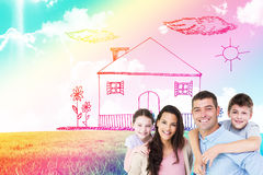 Composite image of portrait of parents giving piggyback ride to children. Portrait of parents giving piggyback ride to children against blue sky over green field Stock Photos