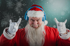 Composite image of portrait of santa claus gesturing Royalty Free Stock Photo